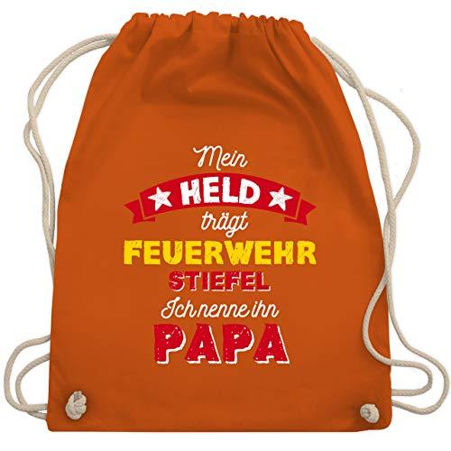 Shirtracer Vatertagsgeschenk Tochter & Sohn Kinder - Mein Held trägt Feuerwehrstiefel - Unisize - Orange - Baby - WM110 - Turnbeutel und Stoffbeutel aus Baumwolle
