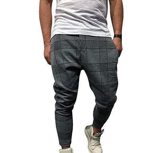 OEAK Herren Haremshose mit Karomuster Hippie Hose Pumphose Baggy Freitzeithose Lange Hose Jogginghose Sporthose Streetwear