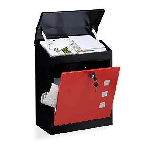 Relaxdays Briefkasten groß, Stahl, Sicherheits-Klappe, Schloss, HxBxT: 53 x 43,5 x 26 cm, Wandbriefkasten, Schwarz-Rot
