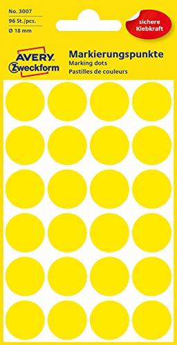 AVERY Zweckform 3007 selbstklebende Markierungspunkte 96 Stück (Ø18mm, Klebepunkte auf 4 Bogen, Punktaufkleber zur Farbcodierung, runde Aufkleber für Kalender, Planer und zum Basteln, Papier) gelb