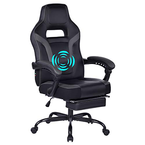 HEALGEN Big and Tall Gaming Chair with Footrest PC Computer Video Game Chair Racing Gamer Pu Leather Chair High Back Swivel Executive Ergonomic Office Chair with Headrest Lumbar Support (9076-Grey) chair gaming purple