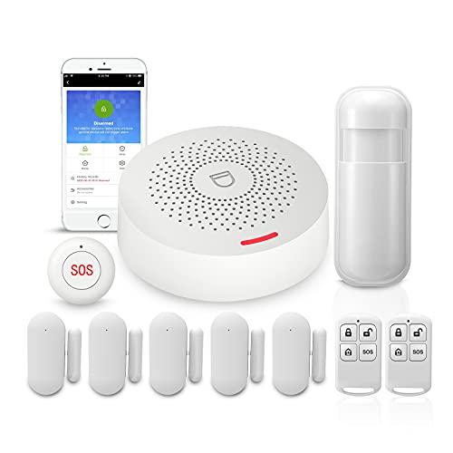 PGST Allarme Wireless Antifurto Casa Senza Fili,10 Kits Antifurto with 5 Sensore Porta Wifi,2 Telecomandi,1Sensore di Movimento,1 Sirena,1Pulsante SOS,Sirena Wireless Con Alexa,Tuya,Google Home