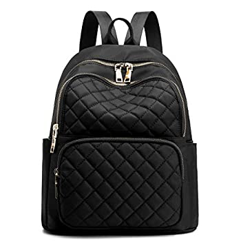 Backpack for Women Nylon Travel Backpack Purse Black Shoulder Bag Small Casual Daypack for Girls  Black Quilted