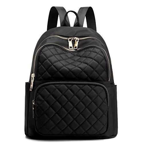 Mochila feminina de náilon para viagem, mochila escolar preta, pequena, para meninas, Black Quilted, tamanho �nico