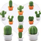 12 Piezas Imanes de Nevera, Planta de Cactus imanes de Nevera, Lindo Suculenta Planta Magnético Nevera, Cactus Etiqueta de Mensaje para Decorar Frigoríficos Oficina Calendarios, Blanco, Naranja
