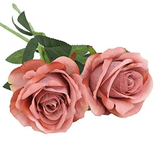 Ewige Rosen Künstliche Silk Rose Blumen Echte Touch Rosen Blumenstrauß Für Hochzeitsdekoration Party Tischdekor Blume Ehe Valentinstag Tag Kunstblumen (Color : F05, Size : 2pcs)