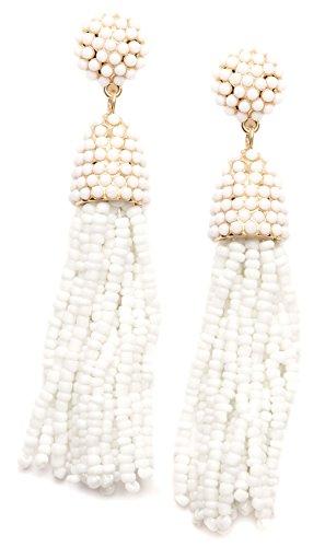 Happiness Boutique Damen Ohrringe mit Weißen Perlen Quasten | Statement Ohrringe mit Fransen Design in Weiß