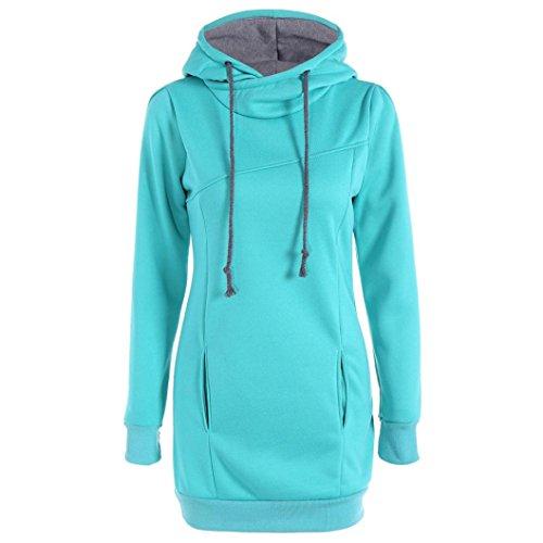 Damen Hoodie Sweatshirt,Dasongff Frauen Kapuzenpullover Mit hohem Kragen Feste Sweatshirt Pullover Tops Slim Fit Pulloverkleid (M, Himmelblau)