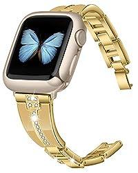 Champagne Gold Diamond Rhinestone Metal Jewelry Wristband Strap for iwatch