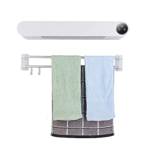 Toallero de bajo Consumo Antracita decorativo secatoallas electrico pared impermeable doble Función Baño Radiador y Seca Toallas con estante Secador y calentador de toallas Control remoto