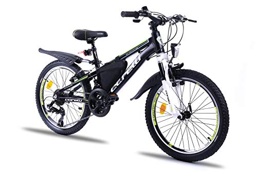 Corelli Twister Mountainbike 20 Zoll, 24 Zoll oder 26 Zoll mit Aluminium-Rahmen, V-Brake, Shimano 21 Gang-Schaltung, Gabelfederung, als Damen-Fahrrad, Mädchen-Fahrrad, Kinder-Fahrrad. (Kiwi, 20.0)