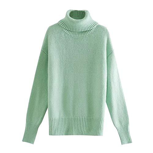 Mdjywl Frauen Mode Weiche Touch Lose Gestrickte Pullover Vintage High Neck Langarm...