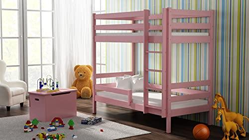 Children's Beds Home - Litera de madera maciza - Theo para niños niños pequeños - Tamaño 160 x 80, color rosa, cajón ninguno, colchón de espuma de 9 cm
