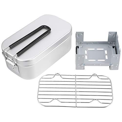 Abaodam 1 Set/3pcs Suministro al aire libre Camping Lunch Box Vapor Rack Horno Plegable Kit