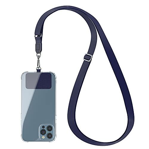 EAZY CASE Universal Handykette geeignet für alle Smartphones, Kette zum Umhängen, Hülle mit breitem Band, Smartphonekette für Unterwegs, Handyband mit jeder Hülle kombinierbar, Blau