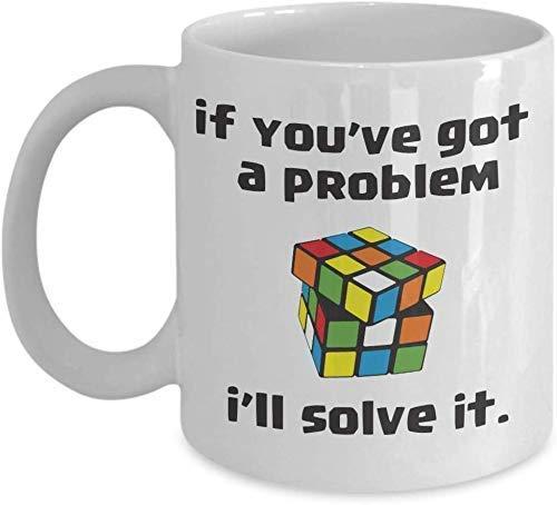 Lplpol Taza de café divertida con texto en inglés 'I 'll Solve It – Rubik Cube Lover – Taza de cerámica blanca regalo para Rubik Cube Hobby Addict 325 ml