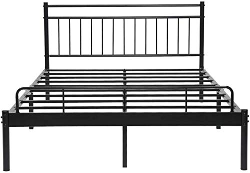 Alecono Small Double Bed Frame with Storage Metal Platform Bed with Lined Shaped Headboard Black