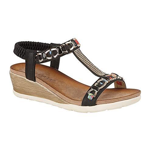 Cipriata Mujeres/Señoras Brizia Jeweled elástico Halter trasero cuña sandalia, color Negro, talla 37 EU