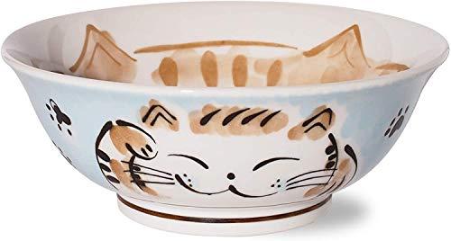 Ciotola Giapponese per Ramen, in Ceramica Mino-Yaki, Grande 21cm, 1,3l, Prodotta in Giappone, Manekineko Gatto (Blu 757894)