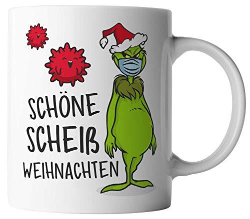 vanVerden Tasse - Schöne scheiß Weihnachten Christmas Grinch mit Maske - beidseitig Bedruckt - Geschenk Idee Kaffeetassen Weihnachtstasse, Tassenfarbe:Weiß