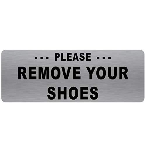 Verwijder uw Schoenen Sign-TEXT ONLY-Geborsteld Zilver Aluminium Metaal-Waarschuwing Deurbericht Welkom Bezoekers Schoeisel Sneakers Trainers Moskeeën