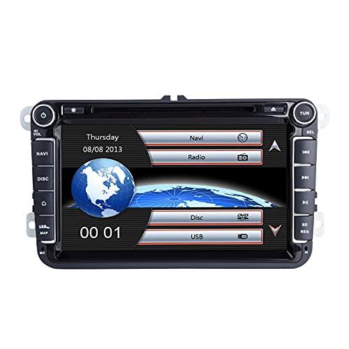 Radio estéreo para automóvil, para VW Seat Skoda Unidad de cabezal doble Din Pantalla multitáctil capacitiva de 8 pulgadas Radio estéreo GPS para automóvil con tarjeta de mapa gratuita Herramientas de