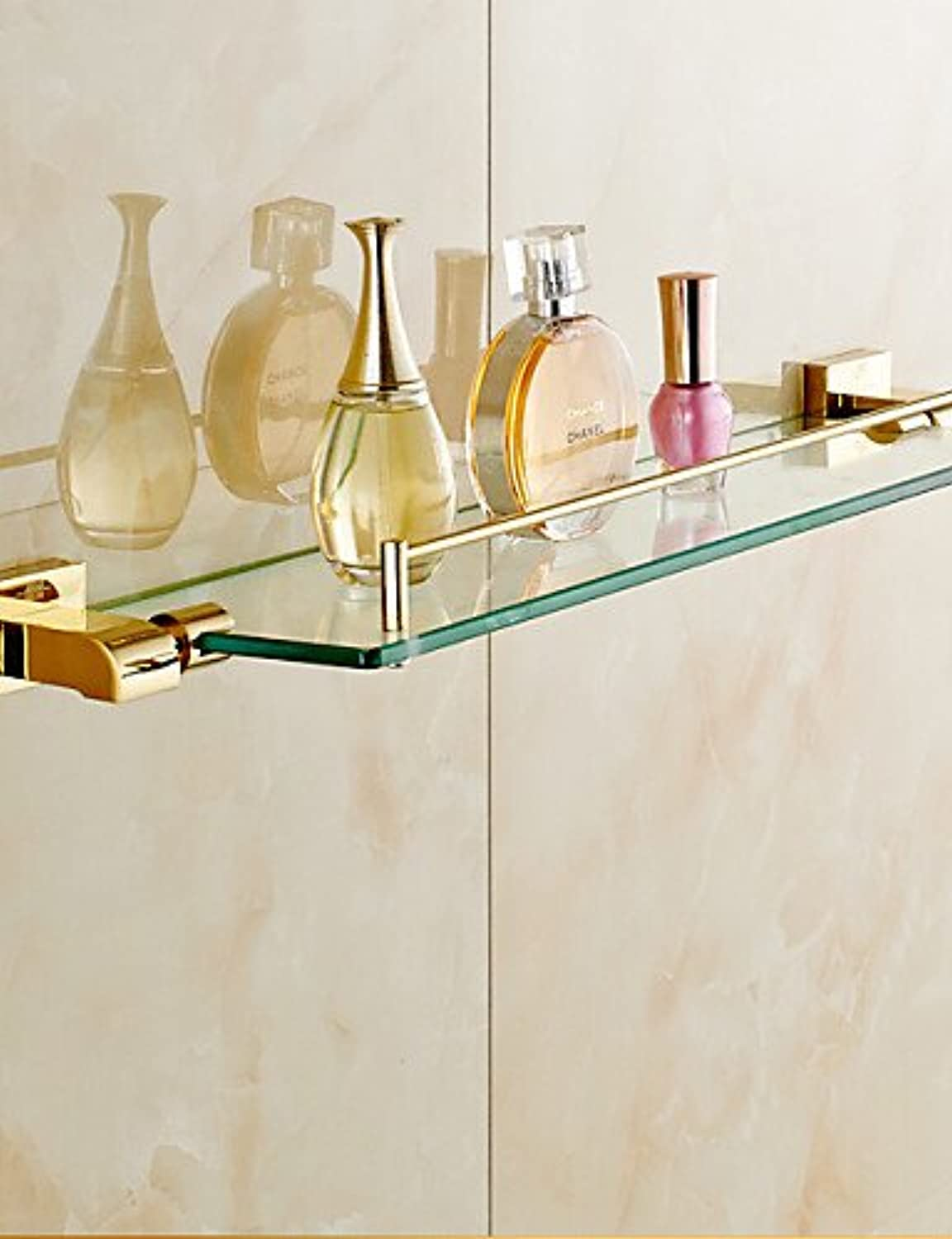 WYMBS Bathroom Shelves,gold Wall Mounted Glass Shelf,Bathroom Accessory, golden