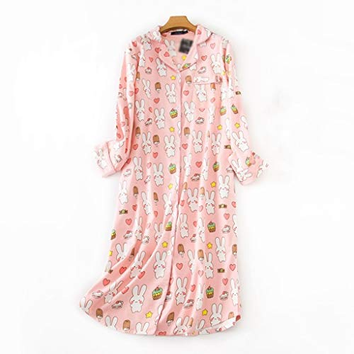 LXDWJ Pijamas de la camisón Pijamas para Mujer Ropa de Dormir de la Dama algodón Largo camisón Dibujos Animados Pijamas salón Ropa de Noche con Bolsillo (Size : XX-Large)