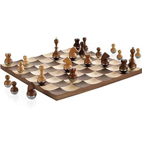 SHBV Juego de ajedrez Tumbler Chess Juego de ajedrez de Madera Ajedrez de Alta Gama Escritorio Decoración Creativa Tablero de ajedrez Regalos Festivos adecuados Juegos de ajedrez de Navidad (Colo