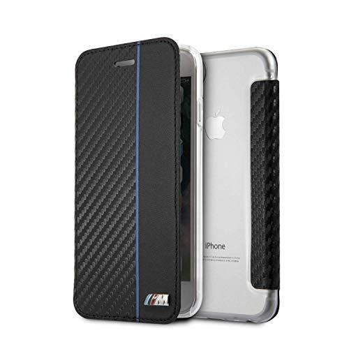 BMW - Funda tipo cartera para iPhone SE (2020), iPhone 8 y iPhone 7, piel sintética y fibra de carbono, diseño inspirado en las rayas, color negro y azul marino