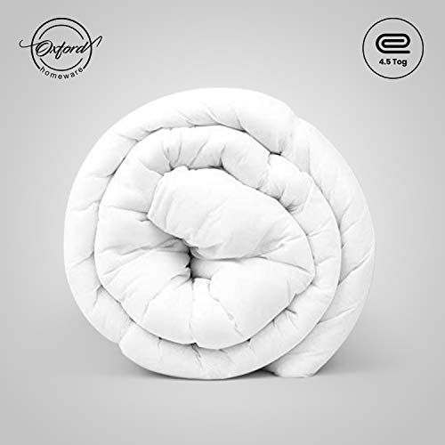 Oxford Homeware Anti Allergy Duvet 4.5 Tog Summer Cool Lightweight Quilt White Double Duvet Hollow Fiber UK Made All Seasons Duvet