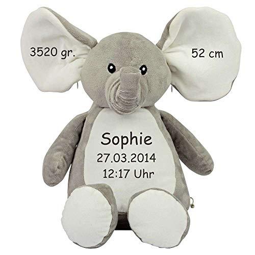 Mumbles Stofftier mit Namen Bestickt Geschenk Teddybär Hund Einhorn Eule Hase AFFE Elefant Dino Drache Kuscheltier individualisiert mit Ihren Daten, Plüschtiere Bestickt:Elefant