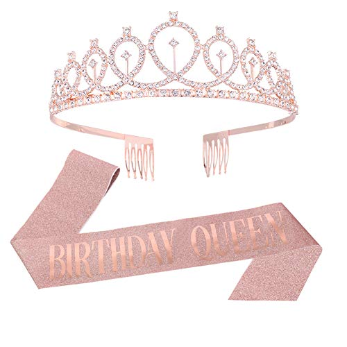 Heyu-Lotus Birthday Queen Crown Headband Birthday Girl Sash and Tiara, Crystal Rhinestone Crown for Happy Birthday Gift Party Accessories, Favors, Decorations