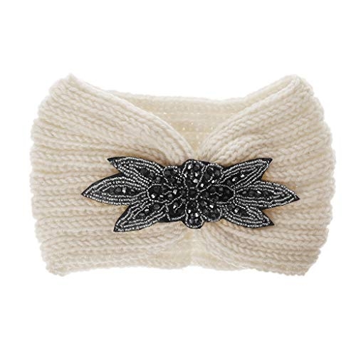 XIAN Diadema de punto con lentejuelas para mujer, diseño de flores y diamantes de imitación