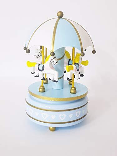 takestop® muziekdoos GIOSTRA muziekdoos 18 x 10 cm Musica Melodia paard bont, Lichtblauw.