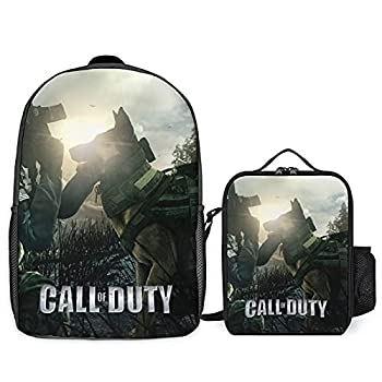 Valvia C-all of Duty School Bag with Lunch Bag Durable Backpack Insulated Lunch Box Shoulder Bookbag Tote Bag for Kids/Students/Womens