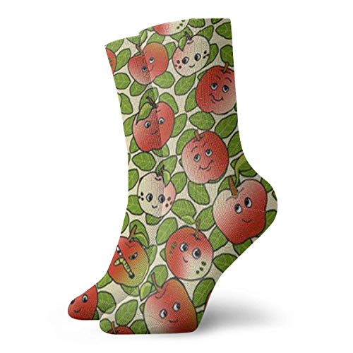 RuiShuoPiCao Cartoon Apple Ankle Socks Casual Funny For Sports Boot Hiking Running Etc.
