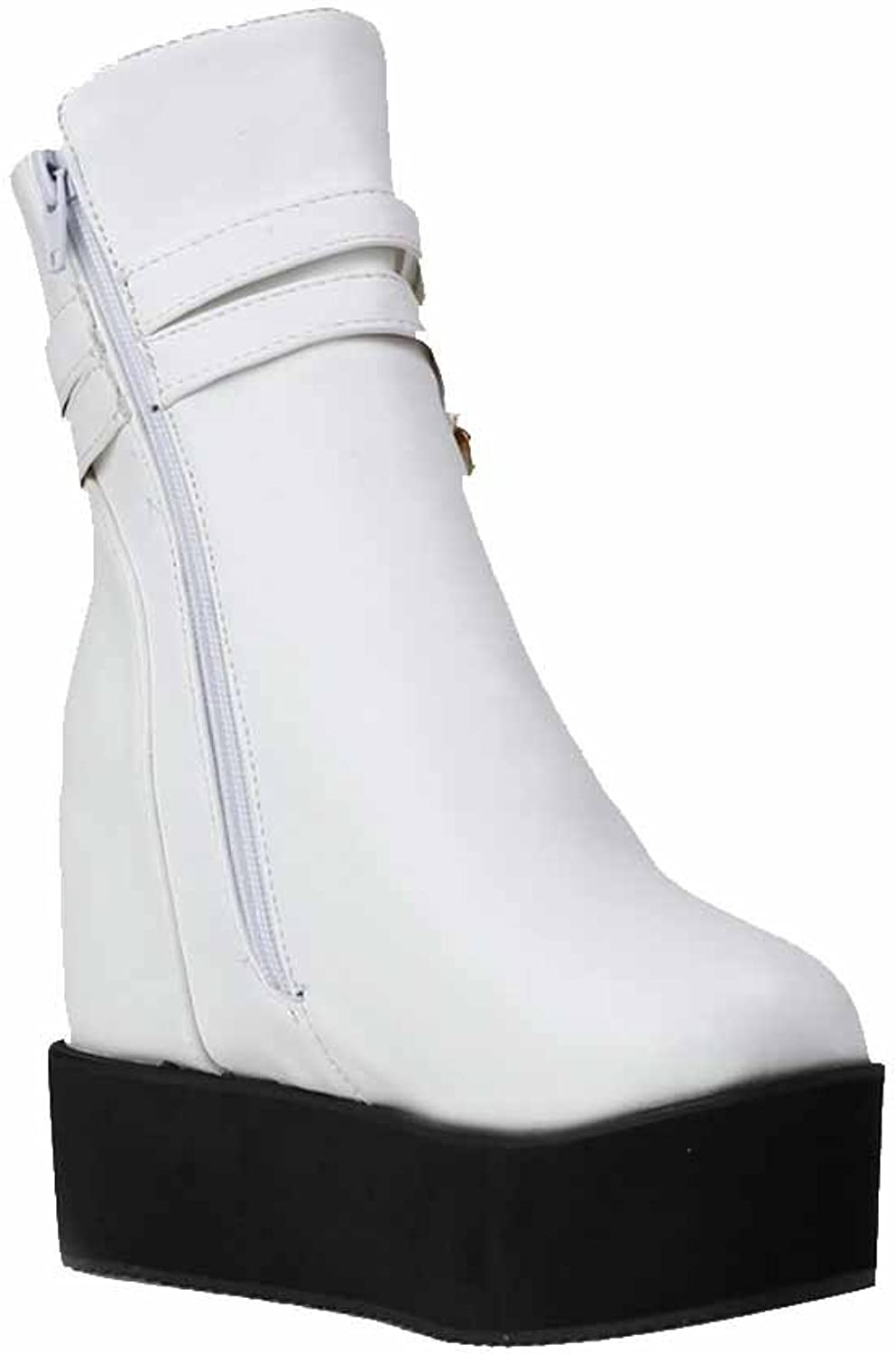 AllhqFashion Women's Soft Material Round Closed Toe High Heels Zipper Solid Boots