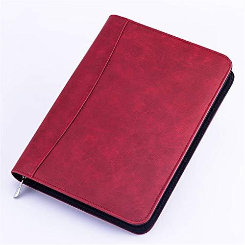 ZHINTE Notebook Carpeta A5 de Piel sintética con calculadora Carpeta con Cremallera Carpeta de Cuaderno Archivo de maletín