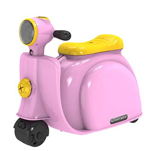 ColiCor Kids Suitcase Inertial Motorbike Luggage Kids Luggage On Wheels Travel Suitcase Toddler-Pink