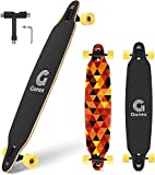 Gonex 42' Longboard Skateboard für Mädchen Erwachsene Anfänger und Kinder, Komplettes Skateboard 9-lagiger Ahorn Konkav Kreuzer with T Werkzeug, Gelbe Karos
