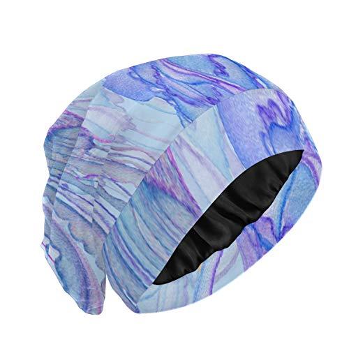 Schlafmütze für langes Haar Rosa blaue Quallen in Seetang auf dem Meer Schlafmützen für Frauen Kurzes Haar Äußerlich weiches, langlebiges Schlafhaarkappe Männer...