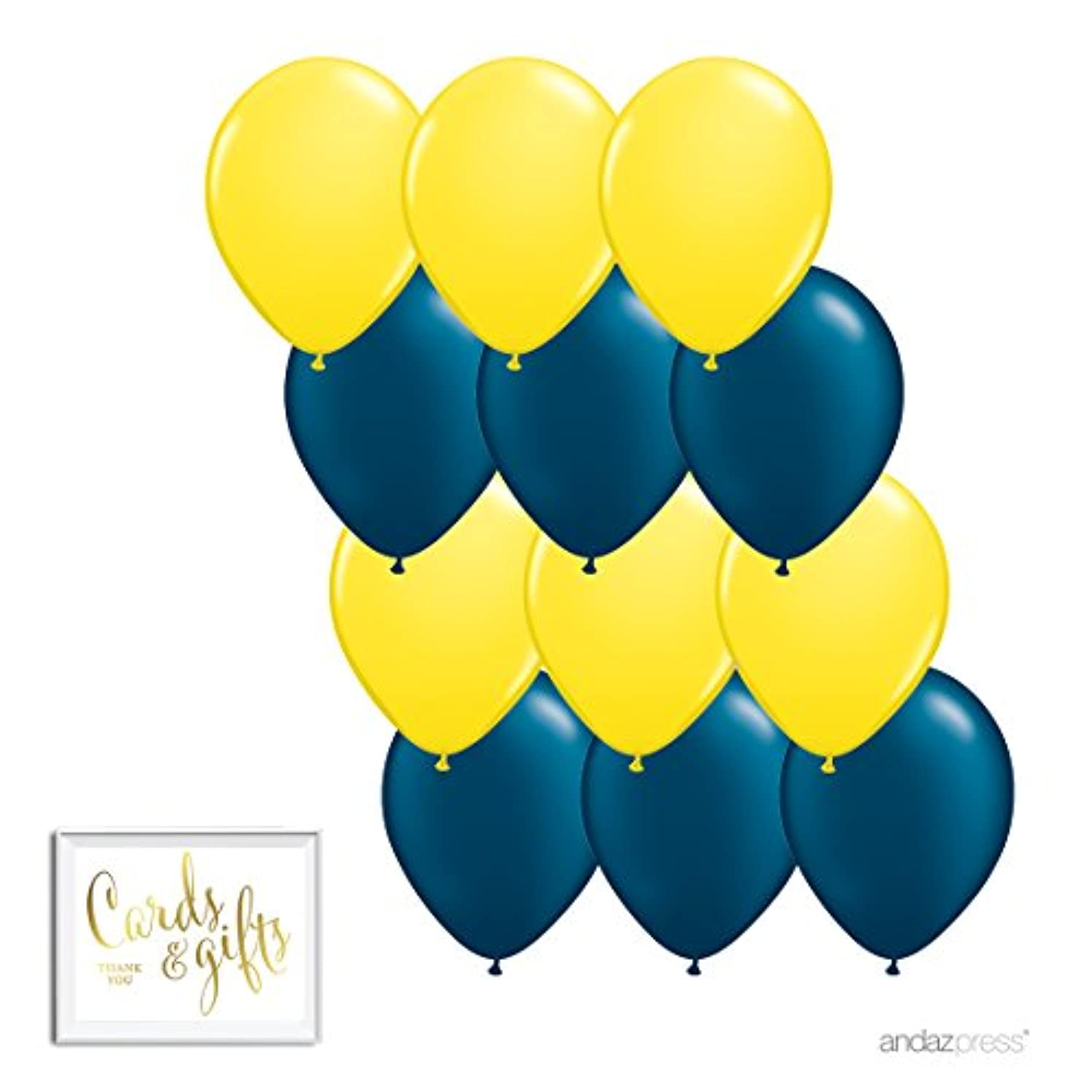 Andaz Press 11-inch Latex Balloon Duo Party Kit with Gold Cards & Gifts Sign, Yellow and Navy Blue, 12-pk
