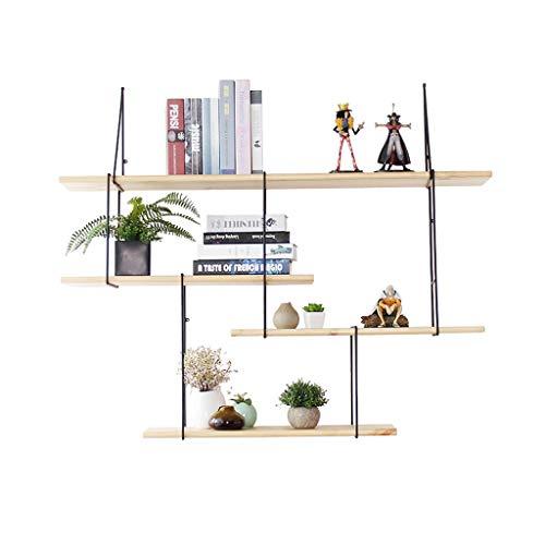 LH-Étagère à cadre Étagère murale en métal en fer bois pour salon bar | Rack de rangement pour étagère murale Cube | Unité flottante Décoration Design Vintage Industrial (4 niveaux)