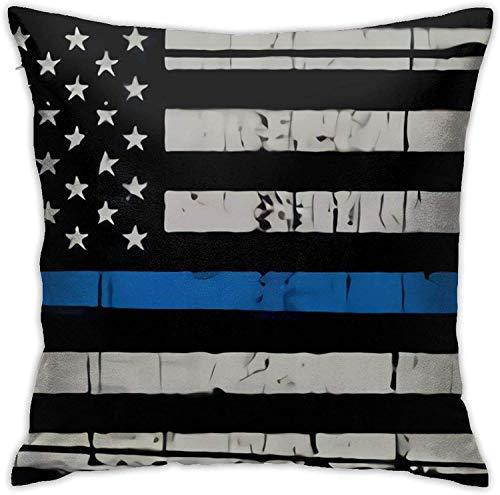 qidong Thin Blue Line American Flag Throw Pillow Covers, Sofa Cushion Plush Design Decoration Home Bed Pilloase 18x18 inch