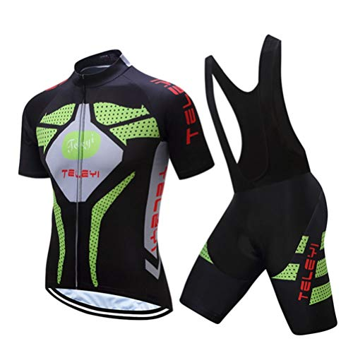 LIOOBO Elastic Short -Sleeved Cycling Jersey Quick -Dry Atembare Sportsuit Sportwers für Running Cryling XXL Black