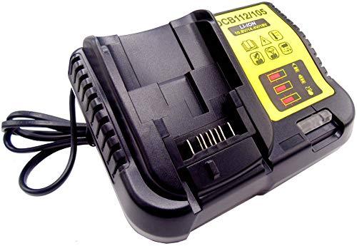 FengWings Cargador universal 10,8V, 14,4V, 18V DCB105 Reemplace cargador Compatible con Dewalt Bohrer DCB184 DCB200 DCB182 DCB180 DCB181 DCB182 DCB201 Cargador de batería de alto rendimiento