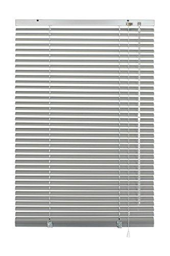 GARDINIA Alu-Jalousie, Sicht-, Licht- und Blendschutz, Wand- und Deckenmontage, Alle Montage-Teile inklusive, Aluminium-Jalousie, Silber, 90 x 130 cm (BxH)