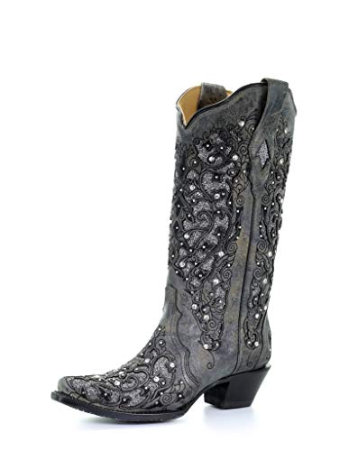 Corral Ld Grey Inlay & Flowered Embroidery & Studs & Crystals ,Size 8