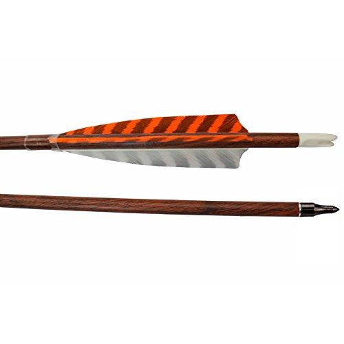 Elong 12pk 30' Archery Carbon Arrows Wood Camo Spine 400 Turkey Feather Arrow for Recurve Bows